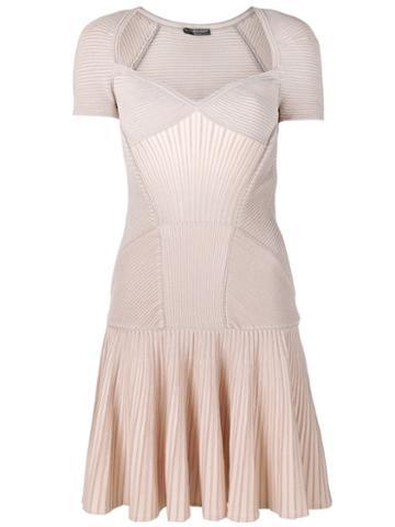 Alexander Mcqueen - Mini Knit Dress - Women - Polyamide/spandex/elastane/viscose/metallic Fibre - S, Nude/neutrals, Polyamide/spandex/elastane/viscose/metallic Fibre