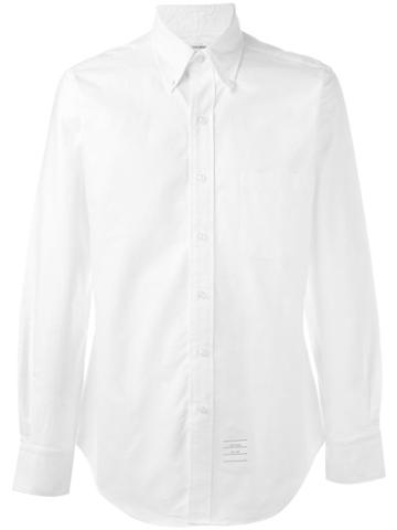Thom Browne - Long Sleeve Shirt With Grosgrain Placket In White Oxford - Men - Cotton - 5, Cotton