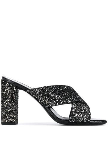 Saint Laurent Glitter Mules - Black