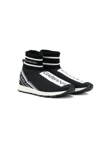 Dolce & Gabbana Kids Logo Print Hi-top Sneakers - Black