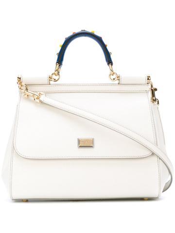 Dolce & Gabbana - Medium Sicily Shoulder Bag - Women - Leather/brass - One Size, White, Leather/brass