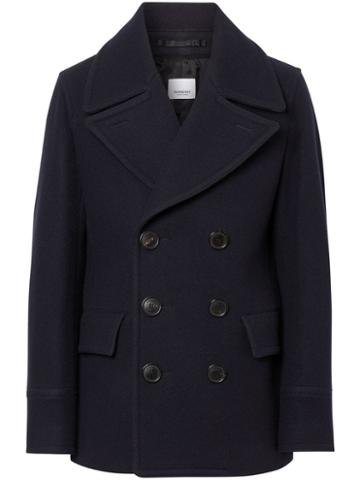 Burberry Wool Blend Pea Coat - Blue