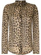 Fendi Vintage Leopard Print Mesh Shirt - Yellow