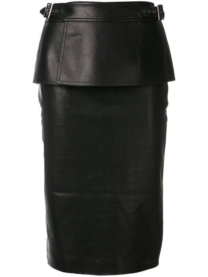Tom Ford Peplum Midi Skirt - Black
