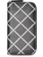 Burberry Link Print Leather Ziparound Wallet - Black
