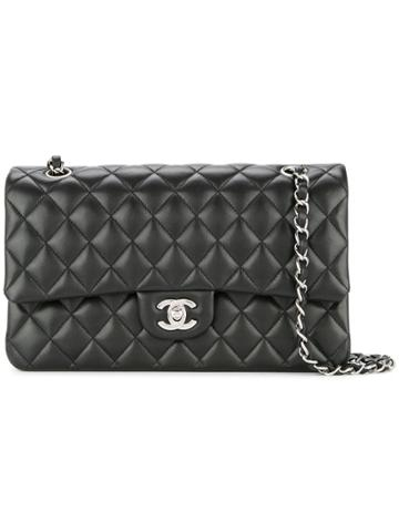 Chanel Vintage Cc Double Flap Chain Wallet - Black