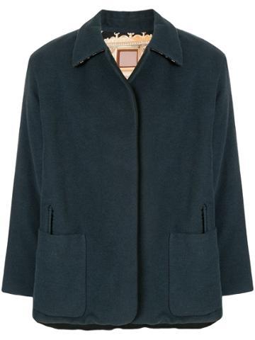 Hermès Pre-owned Collar Detail Reversible Jacket - Blue