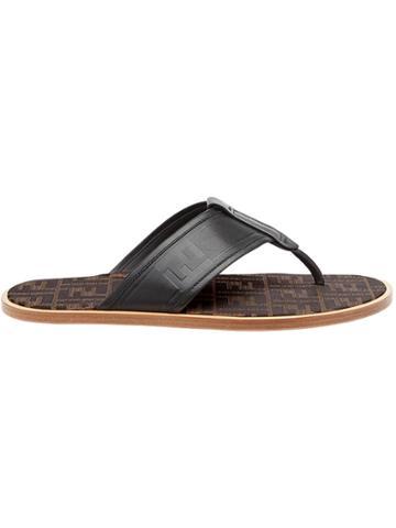 Fendi Ff Logo Flip-flop Sandals - Black