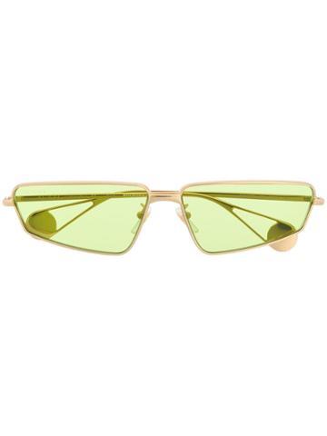 Gucci Eyewear Green Tinted Sunglasses - Gold