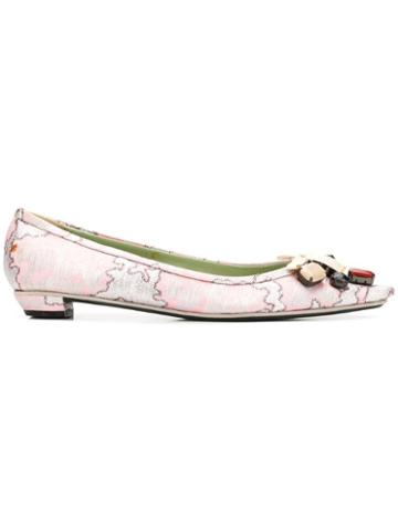 Prada Pre-owned 1990's Stone Embellished Pumps - Pink And Silver With