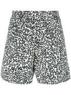 Alexander Mcqueen Leopard Print Swim Shorts - Black