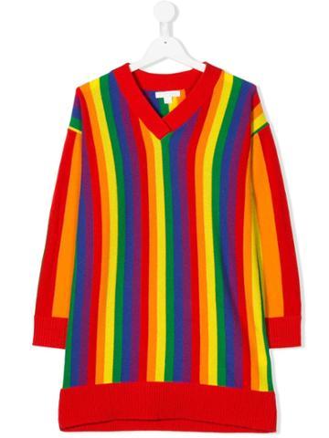 Burberry Kids Teen Rainbow Striped Sweater - Red