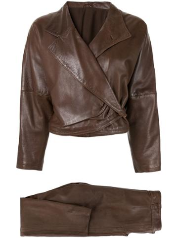 Versace Pre-owned Leather Jacket And Trousers Suit - Black