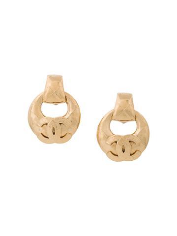 Chanel Vintage Logo Oversized Hoop Earrings - Metallic