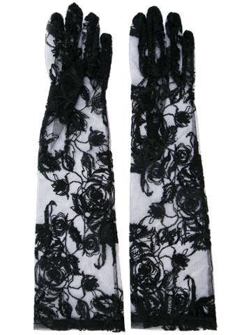 Ann Demeulemeester Embroidered Fishnet Gloves - Black