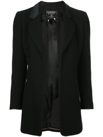 Chanel Vintage Tied Front Boxy Blazer - Black