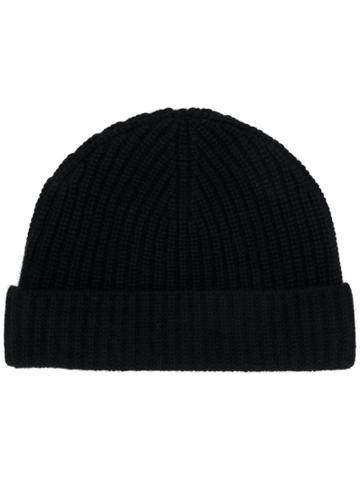 Aspesi Knitted Beanie Hat - Black