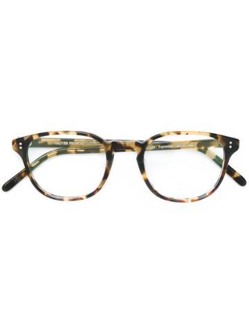 Oliver Peoples - 'fairmont' Square Frame Glasses - Unisex - Acetate - 49, Brown, Acetate