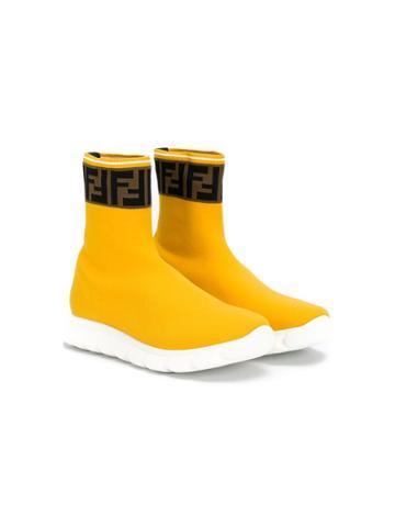 Fendi Kids Teen Ff Hi Top Sock Sneakers - Yellow