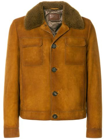 Prada Shearling Collar Jacket - Brown