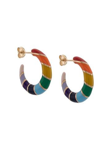 Alison Lou 14kt Yellow Gold Rainbow Striped Hoops - Multicolour
