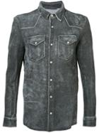 Salvatore Santoro - Distressed Shirt Jacket - Men - Leather - 52, Grey, Leather