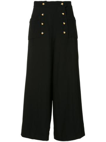 Chanel Vintage Wide-legged Cropped Trousers - Black