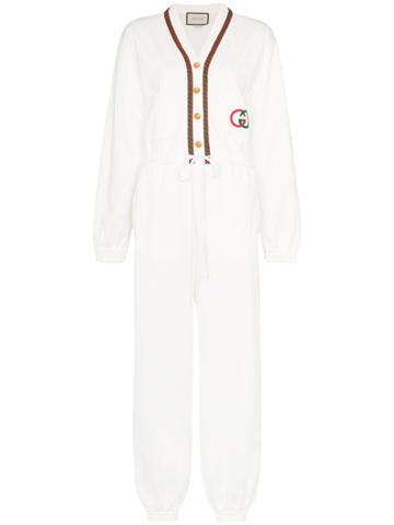 Gucci Striped Logo Jumpsuit - White