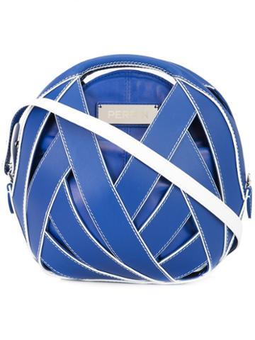 Perrin Paris Round Clutch, Women's, Blue, Leather