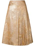 Rochas Brocade Pleated Skirt - Gold