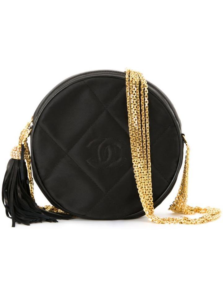 Chanel Vintage Quilted Round Shoulder Bag, Women's, Black