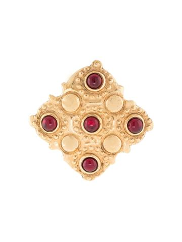 Chanel Pre-owned 1988 Diamond-shaped Embossed Brooch - Gold