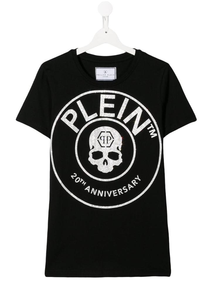 Philipp Plein Junior 20th Anniversary Printed Logo Tshirt - Black