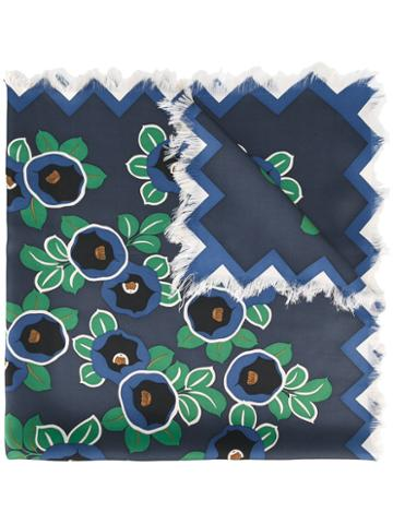 Tory Burch Floral Print Scarf, Women's, Blue, Silk