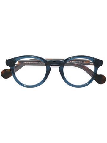 Moncler Round Frame Glasses, Green, Acetate