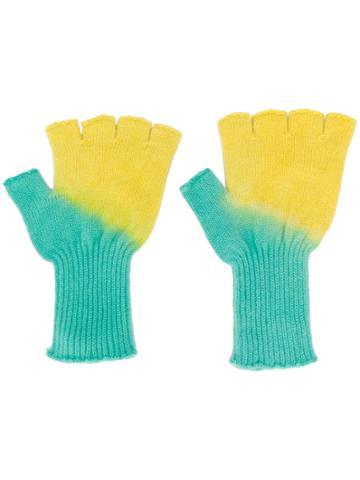 The Elder Statesman Two-tone Fingerless Gloves - Green