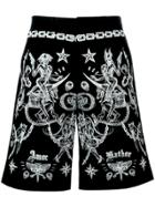Givenchy Tattoo Print Bermuda Shorts - Black
