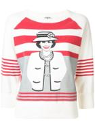 Chanel Pre-owned Mademoiselle Print Striped Sweatshirt - White