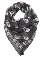 Alexander Mcqueen Skull Chiffon Scarf, Women's, Black, Silk