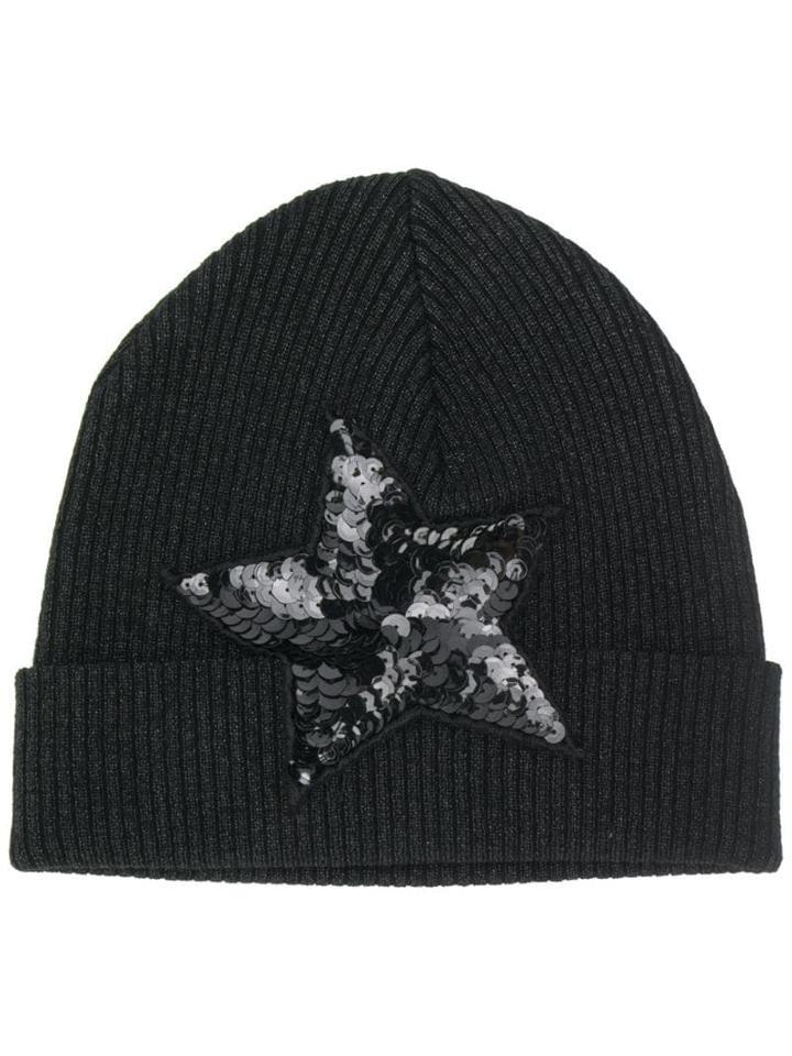 P.a.r.o.s.h. Embellished Star Beanie Hat - Black