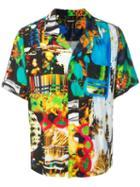 Christian Dada Graphic Print Open Collar Shirt - Black