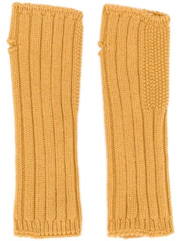 Holland & Holland Cashmere Knited Mittens - Yellow