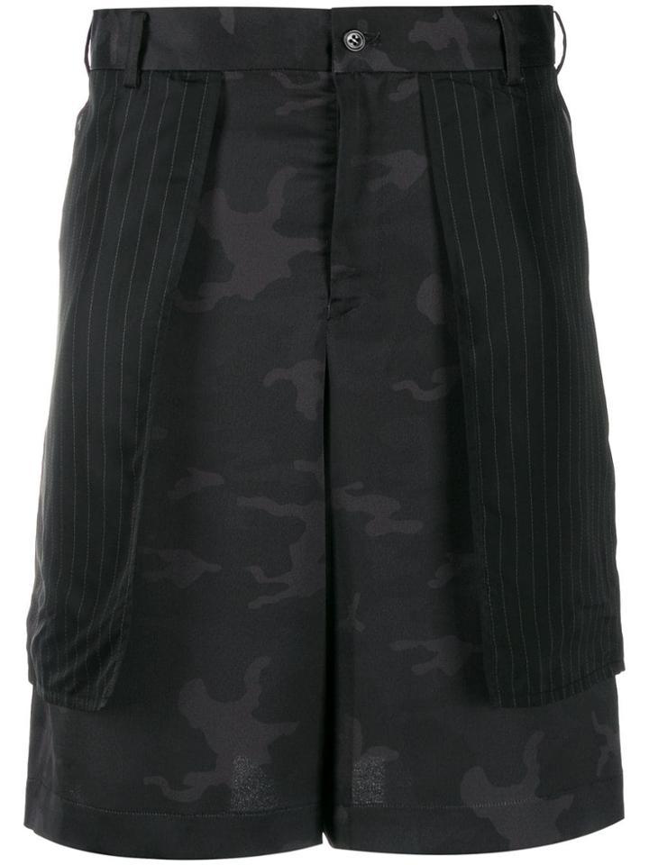 Black Comme Des Garçons Camouflage Bermuda Shorts
