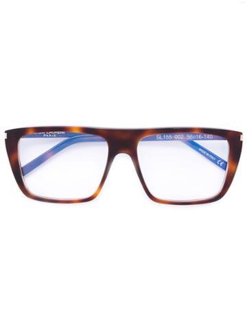 Saint Laurent - Square Frame Glasses - Unisex - Acetate - One Size, Brown, Acetate