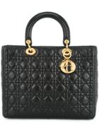 Christian Dior Vintage Lady Dior Cannage Tote - Black