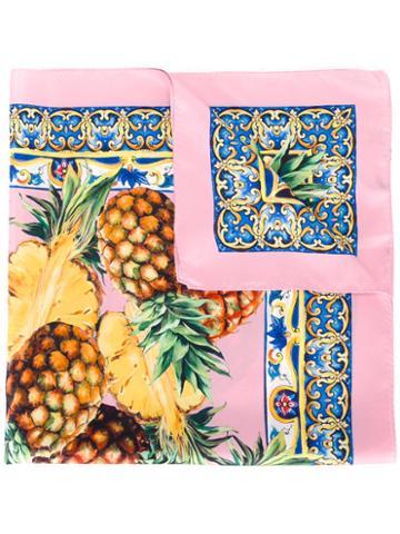 Dolce & Gabbana Pineapple Print Scarf, Women's, Pink, Silk