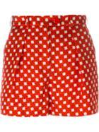 Carven Shamrock Print Shorts, Women's, Size: 40, Red, Silk/polyester