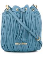 Miu Miu Matelassé Bucket Bag - Blue