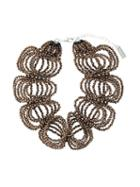 Night Market Beaded Necklace, Women's, Brown, Brass