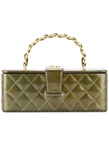 Chanel Vintage Chanel Quilted Cc Vanity Hand Bag - Green